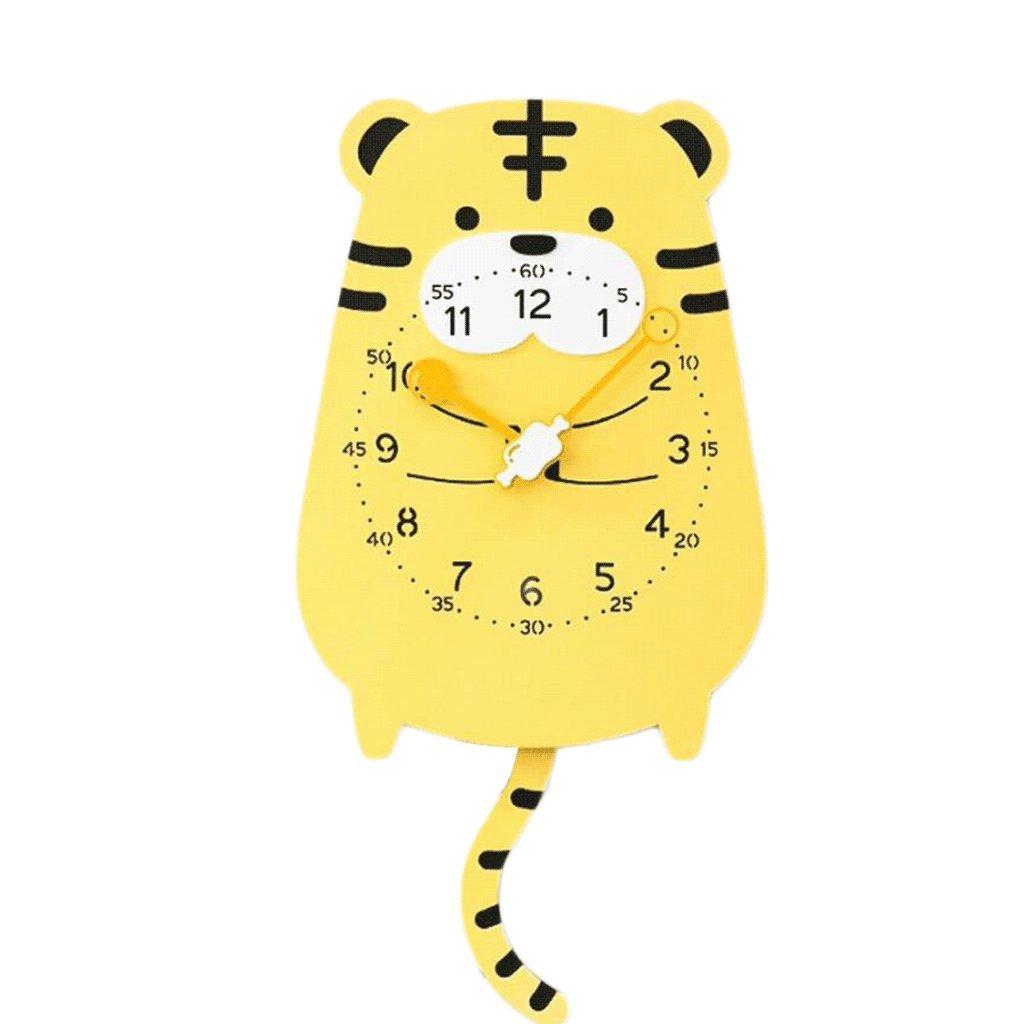 Unbekannt Wanduhr Für Kinder stumm Tiermodellierung Dekoration Pendel Schöne Cartoon Kinderzimmer Kindergarten Schaukel Wanduhr Moderne Dekoration Kreativität UOMUN (Farbe : Tiger)