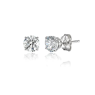 6c50f97d1a44c 14K Gold Round Prong-set Stud Earrings set with Swarovski Zirconia