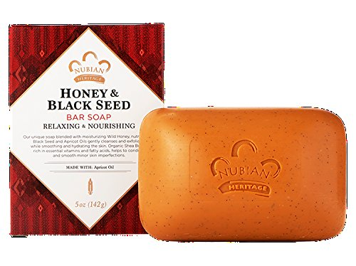 NUBIAN HERITAGE BAR SOAP,HONEY & BLKSEED, 5 OZ (Pack of 6)