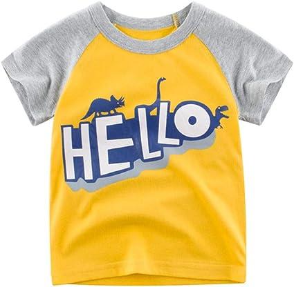 27 KIDS Camiseta Infantil De Manga Corta con Cuello Redondo, Camiseta Dealgodón para Niños, Camiseta Deverano para Niños, Camiseta De Fondo para Niños, Camiseta Amarilla, 120: Amazon.es: Ropa y accesorios