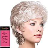 Joey Wig Color Frosti Blonde - Noriko Wigs 4' Short Textured Pixie Curls Toulsed Synthetic Average Cap Capless Curly Wavy Bundle MaxWigs Hairloss Booklet