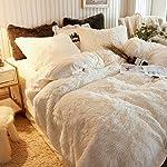 XeGe-Plush-Shaggy-Duvet-Cover-Set-Luxury-Ultra-Soft-Crystal-Velvet-Bedding-Sets-3-Pieces1-Faux-Fur-Duvet-Cover-2-Faux-Fur-PillowcasesZipper-ClosureQueenLight-Beige