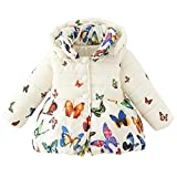 DORAMI Baby Girls Winter Autumn Cotton Warm Butterfly Jacket Coat (2T, Beige)