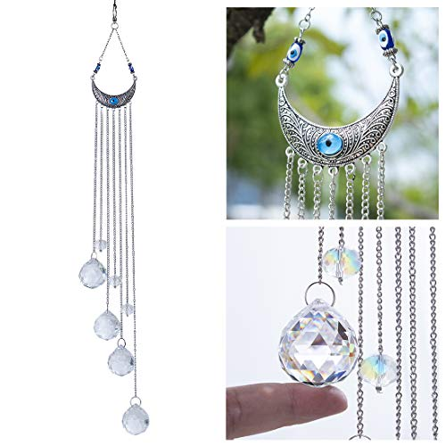 H&D HYALINE & DORA Blue Evil Eye Wall Hanging Crystal Suncatcher with Crystal Prism Balls for Home,Garden Decoration (Dora Wall Decorations)
