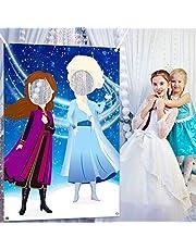 Ticiaga Frozen Fun Express Photo Door Banner, Large Fabric Elsa Face Photography Banner Background, Pretend Anna Backdrop Props, Winter Wonderland Party Decoration, Princess Theme Party Favor Supplies