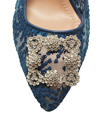 Chicastic Velvet Lace Rhinestone Embellished High Heel Pump Shoes Blue Lace RyXLCF