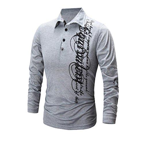 Mens' Long Sleeve T shirt,AIMTOPPY Men Boy Printing Tees Shirt Fashion Blouse Tops Blouse (S, Gray)