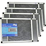 Fenestrelle Expandable Window Screen, 2 Way Adjustable, Horizontal (15'h fits 21-40'w) or Convert to Vertical (21'h fits 15-28'w) - 4 Pack
