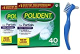 Polident Partial Denture Cleaner Tablets 80 Tablets bundle with Dentu-Care Denture Brush for Maintaining Good Oral Care of Full/Partial Dentures