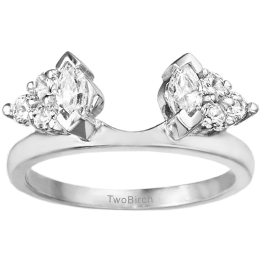 TwoBirch 1 ct. Cubic Zirconia Classic Style Three Stone Inspired Ring Wrap in Sterling Silver (1 ct. twt.)