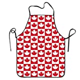 GivingLove Mens&womens Canadian Canada CA Flag Maple Leaf Kitchen Cooking Chef Baking Aprons With Adjustable Great Gift