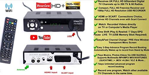 UK Freeview HD + WiFi Ready Set Top Digi Box Digital TV