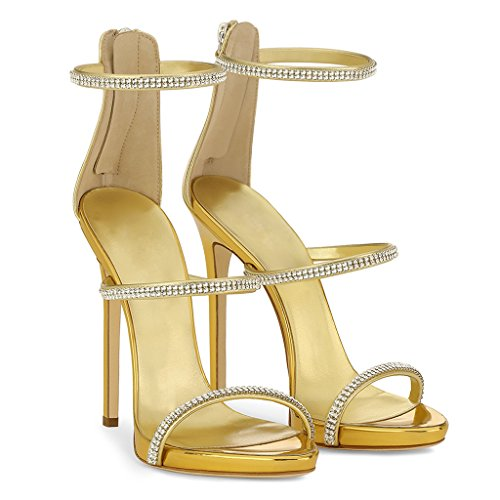 gao Lady Hot Drill With Zipper Sandals Elegant Wedding Heels,Gold,38 Yellow