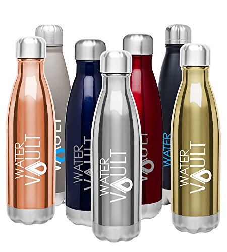 WaterVault Insulated Water Bottle - Stainless Steel Vacuum Thermos Bottles - Cold 24 Hours, Hot 12 Hours - Double Wall Copper Plated