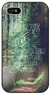 The love of christ will help you see past the faults of others - Forest path - Bible verse iPhone 4 / 4s black plastic case / Christian Verses