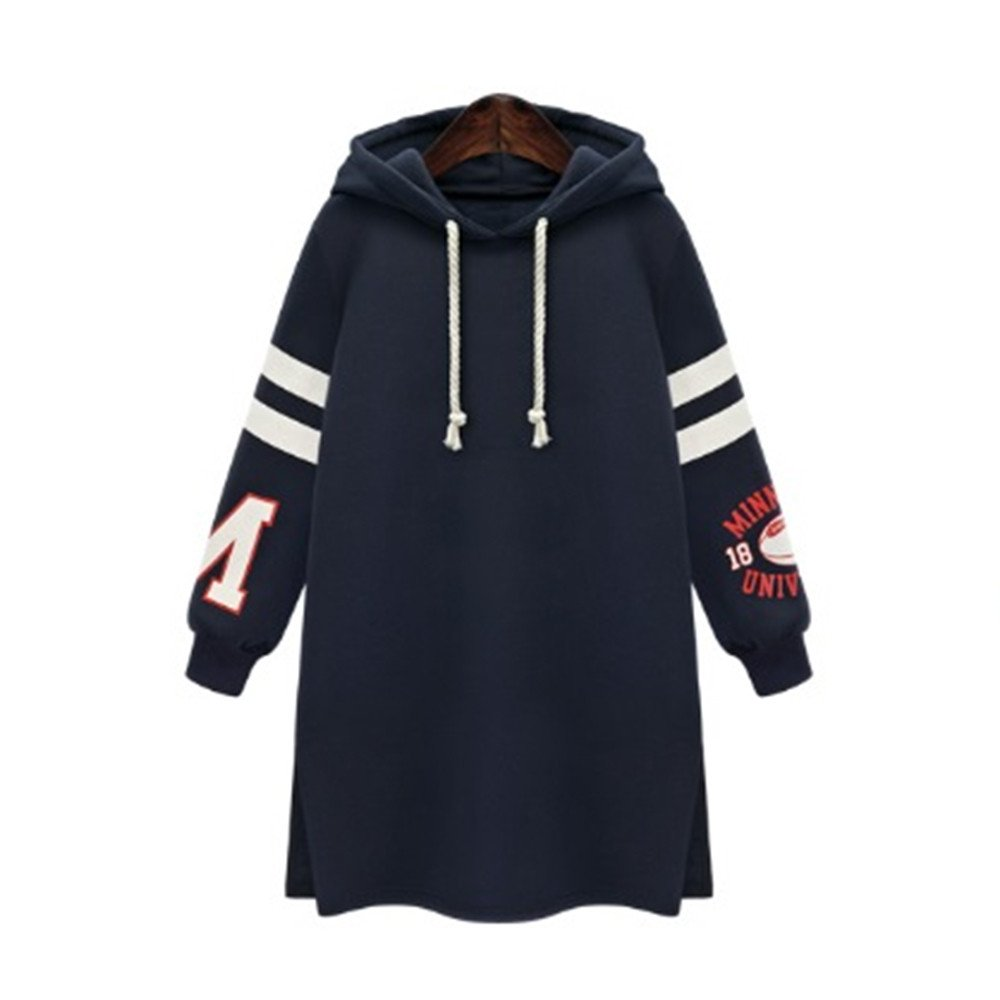 Qvwanle Fashion Winter Womens Hooded Pullover Sweatshirt Casual Coat Tops Pullover Plus Size (5XL, Dark Blue)