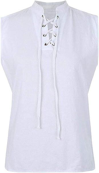 Chaleco Pirata sin Mangas para Hombre Camiseta Casual Camisa sin Mangas sin Cordones para Verano: Amazon.es: Ropa y accesorios