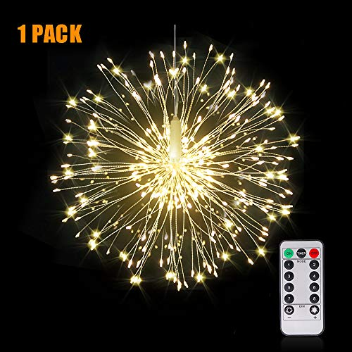 Firework Lights Wire Lights,120 LED DIY 8 Modes Dimmable String Fairy Lights with Remote Control,Waterproof Decorative Hanging Starburst Lights for Christmas, Home, Patio, Indoor Outdoor Decoration (Solar Lights Christmas)