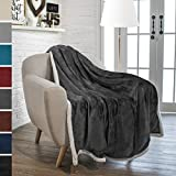 Premium Sherpa Throw Blanket by Pavilia | Super Soft, Cozy, Lightweight Microfiber, Reversible, All Season for Couch or Bed (Charcoal, 50 x 60 Inches)