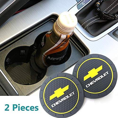 2Pcs 2.75 Inch Car Cup Holder Coasters for Chevrolet, Car Interior Accessories, Silicone Durable Anti Slip Car Cup Holder Coasters for Chevy, Silverado,Corvette,Cruze,Malibu,Epica,Volt,etc All Models