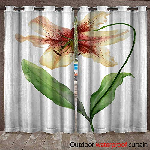 Drape for Pergola Curtain Beautiful Tiger Lily Flower on a stem with Green Leaves Watercolor Painting Floral Illustration Hand Painted Isolated on White Background Waterproof CurtainW120 x L108 (Drapes Tiger Lily)