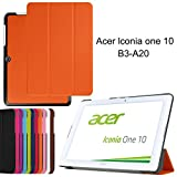 Acer Iconia One 10 B3-A20 case, iDudu Ultra Slim PU Leather Lightweight Smart-shell Stand Cover for Acer Iconia One 10 B3-A20 (NOT Fit B3-A30) 10-Inch Tablet (Orange)