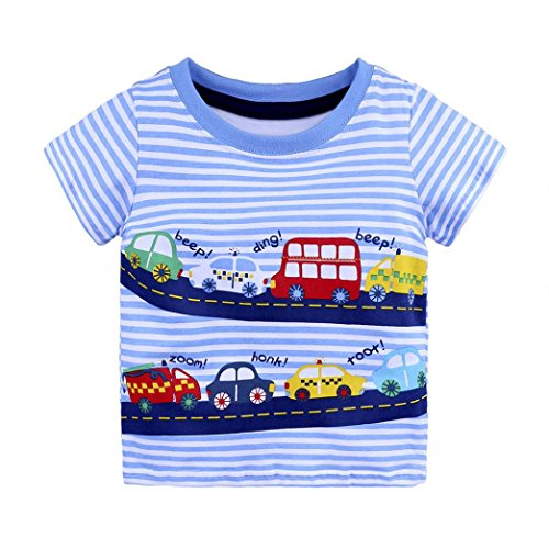 G-real Baby Boys Toddler Kids Summer Cute Cartoon Print T-Shirt Tops Striped Pullover For 18M-6T (Blue, - Applique Pullover