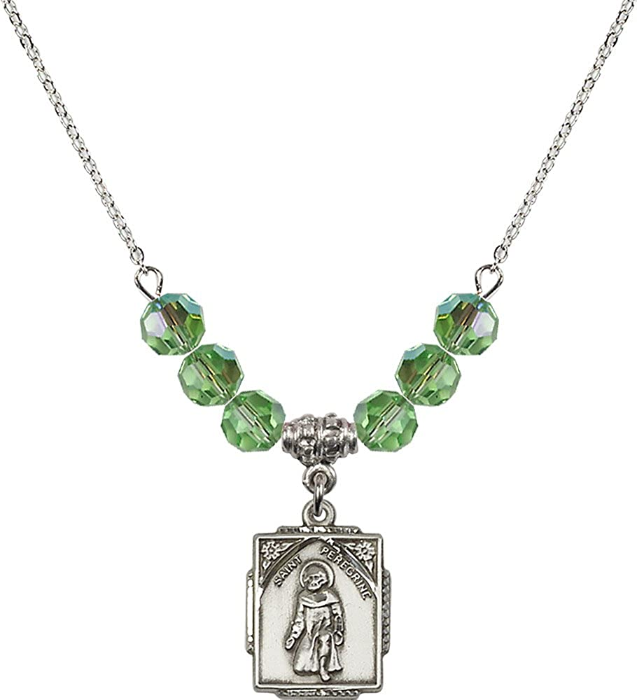 18-Inch Rhodium Plated Necklace with 6mm Peridot Birthstone Beads and Sterling Silver Saint Peregrine Charm.