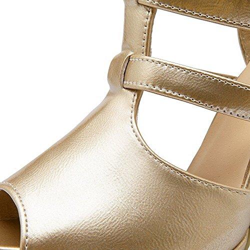 AllhqFashion Mujeres Material Suave Cremallera Peep Tacón de aguja Sólido Sandalia Gold