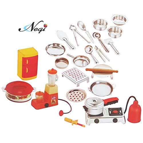 Negi 24pcs Mini Stainless Steel Utensils Non Toxic Indian Kitchen Set Great Kitchen Toys for Girls (Kid's Love Kitchen…