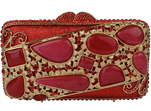 Yilongsheng Ladies New agate Evening Bags With Crystal For Wedding (Red) by YILONGSHENG