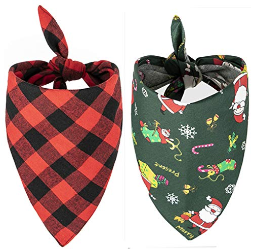 Upaw Christmas Dog Bandana Pack - Red Plain Triangle Bibs Pet Scarf for Small to Large Dogs and Cat