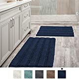 H.VERSAILTEX Navy Blue Bathroom Rugs Slip-Resistant Extra Absorbent Soft and Fluffy Striped Bath Mat Set Chenille Bath Rugs, Floor Mats Dry Fast Machine Washable (Set of 2-20' x 32'/17' x 24')
