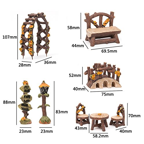 Tonsiki 8 pcs miniature fairy garden furniture accessories for Garden accessories online