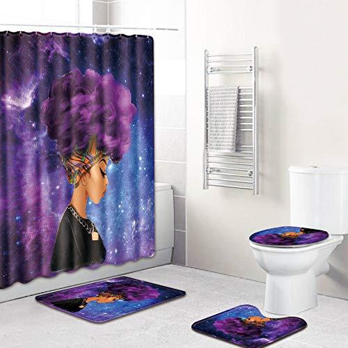 New Traditional African American Women Pattern Shower Curtain mat Anti-Slip mat 4 Piece Set