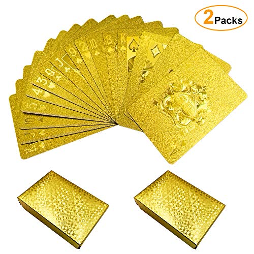 JumpyFire Luxury 24K Gold Foil Playing Cards, 2 Pack Gold-Plated Waterproof Poker Cards for Table Game, Classic Magic Tricks Tool