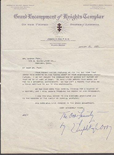 Grand Encampment Knights Templar condolence letter H Wales Lines 1927