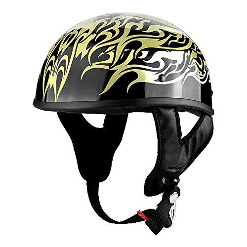 Skull Cap Motorcycle Helmet Gloss Black with Skull & Flames