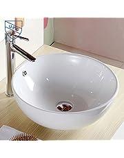 White Round Ceramic Above Counter Basin Vessel Vanity Sink Art Basin Bathroom Sink (CL-1027)