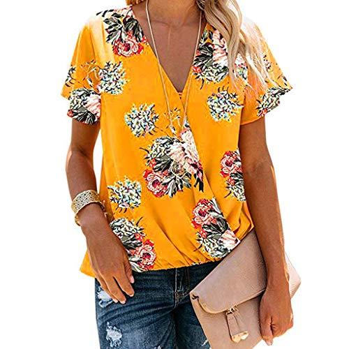 Loose V-Neck Tops, QIQIU Womens Elegant Floral Print Short Sleeve Summer Casual Tops Blouse S-XXL Yellow ()