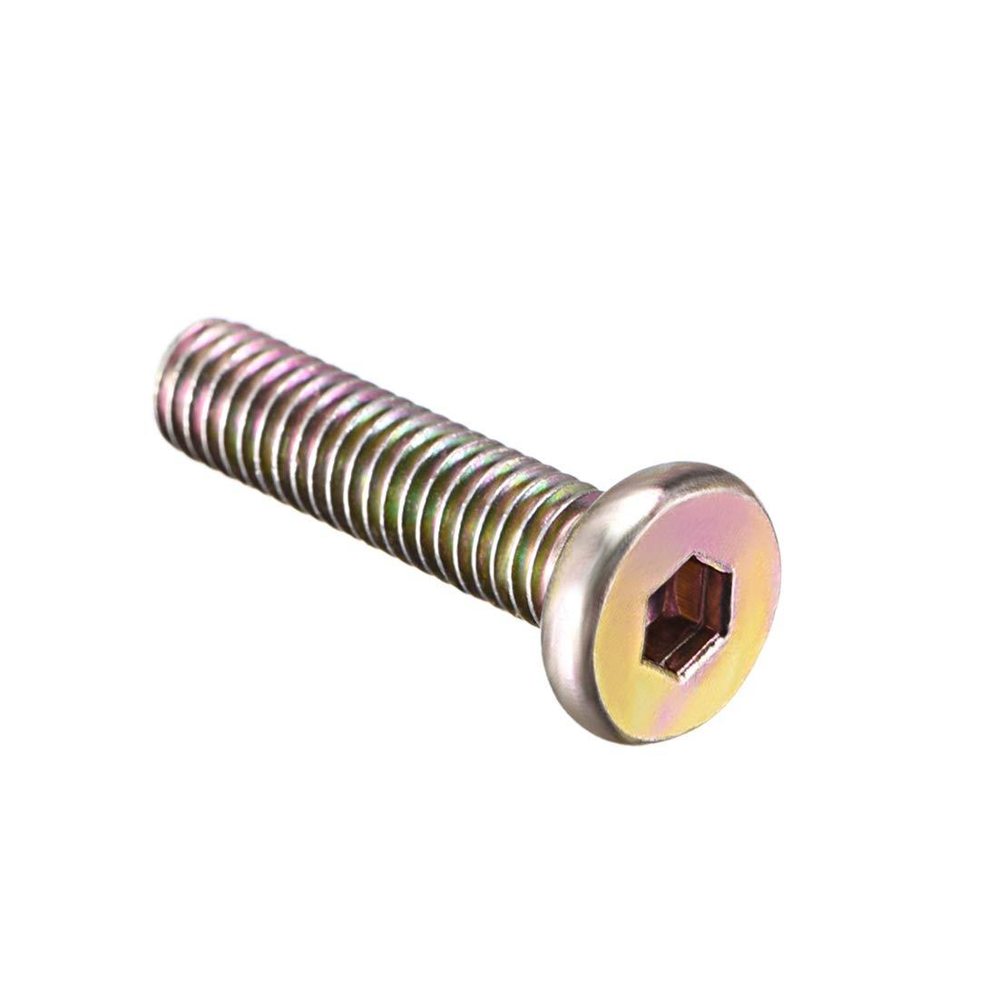 uxcell M6x20mm Male Thread Cabinet Hex Socket Head Screw Post Silver Tone 5pcs