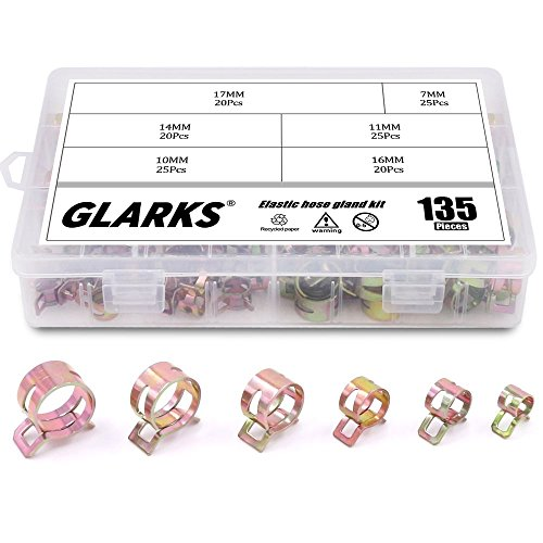 - Glarks 135Pcs Spring Band Type Clips Air Hose Tube Water Pipe Fuel Pipe Silicone Vacuum Hose Clamp Fasteners Assortment Kit (7mm 10mm 11mm 14mm 16mm 17mm)