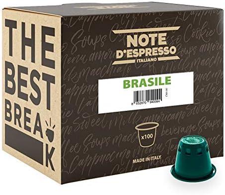 Note D'Espresso Brasile Caffè in Capsule esclusivamente compatibili con Sistema Nespresso* - 5.6 g x 100 Pezzi