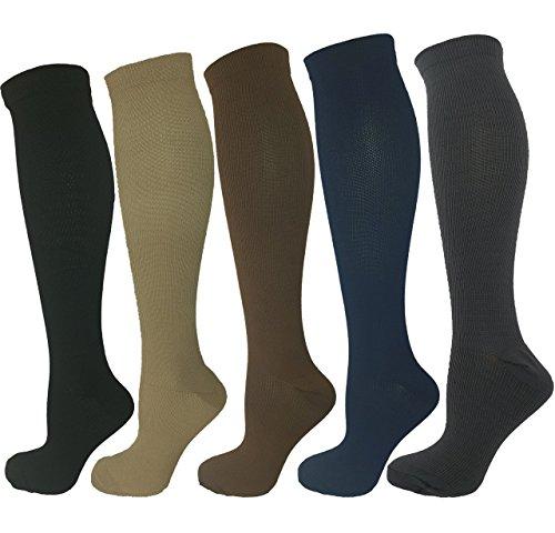 Ladies Compression Socks, Pack of 5 Moderate Medium Compression 15-20 mmHg. Running, Nurses, Travel & Flight Knee-High Socks. Assorted Colors Small-Medium Size, Fits Shoe Size 5-10 ()