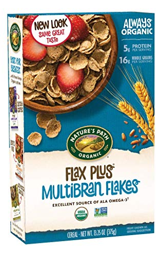 Flax Natures Cereal Path - Nature's Path Organic Cereal, Flax Plus Multibran Flakes, 13.25 Ounce Box (Pack of 6)