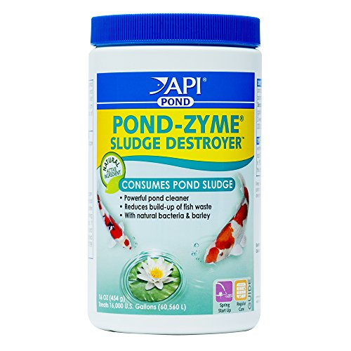 (API POND-ZYME SLUDGE DESTROYER Pond Cleaner With Natural Pond Bacteria And Barley, 1-Pound Container)