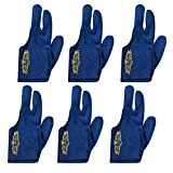 Champion Sport Dark Blue Left Hand Billiards Gloves for Pool Cues - Wear on The Left Hand, Buy Three GET ONE Free, 6 Pool Gloves