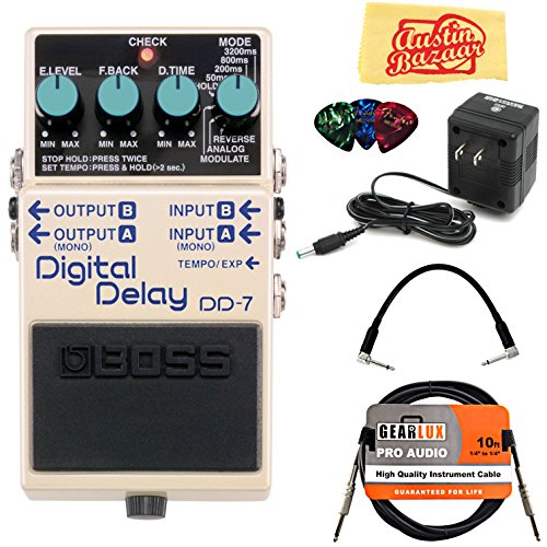 (Boss DD-7 Digital Delay Bundle with Power Supply, Instrument Cable, Patch Cable, Picks, and Austin Bazaar Polishing)