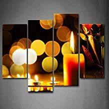 First Wall Art - Candles With Bright Flame And Halo Wall Art Painting The Picture Print On Canvas Art Pictures For Home Decor Decoration Gift