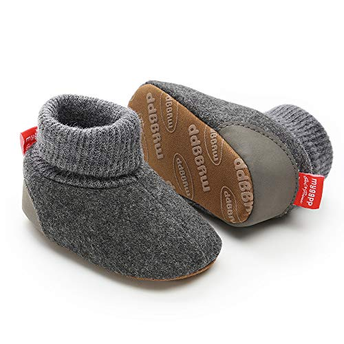 Tutoo Unisex Baby Newborn Plush Fleece Ankle Booties Infant Boys Girls Socks Winter Warm Cotton Slippers Soft Anti Slip First Walker Shoes (4.7 inches(6-12 Months), C-deep - Winter Booties